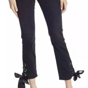 NEW Good American 0 25 Straight Leg Lace Up Jeans